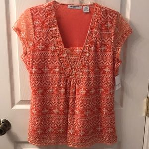 Liz Claiborne Petite Orange and White Floral Top